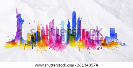 Silhouette overlay city painted with splashes of watercolor drops streaks landmarks with blue violet tones - stock vector