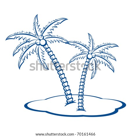 Silhouette Palm trees with coconuts #2. One-colour vector symbol on white.