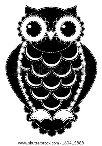 Silhouette patchwork owl. Isolated on white. Vector illustration. - stock vector