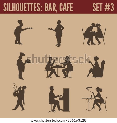 Silhouette people collection. Cafe bar restaurant bistro cafeteria visitors men women silhouettes.  - stock vector