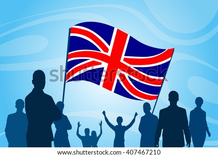 Silhouette People Crowd Protest Hold English Great Britain  Flag Vector Illustration - stock vector