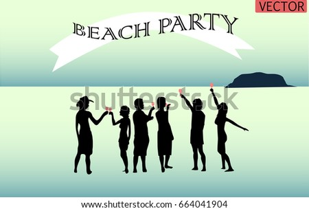silhouette people, enjoy beach party with glasses of wine in hands. vector people.