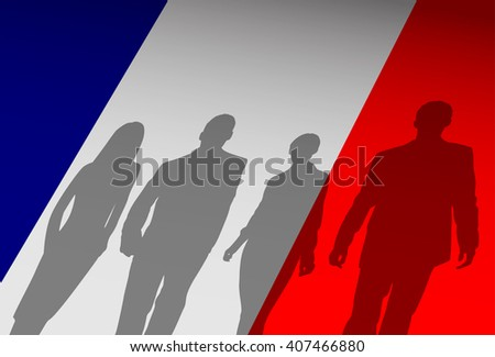 Silhouette People Group Over France Flag Background Vector Illustration