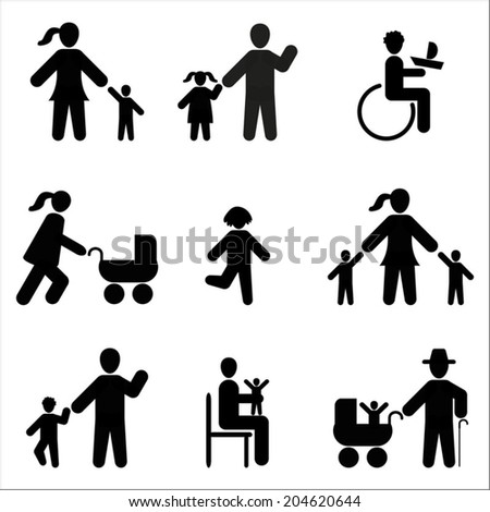 Silhouette people icon black on white background, family icons set - stock vector