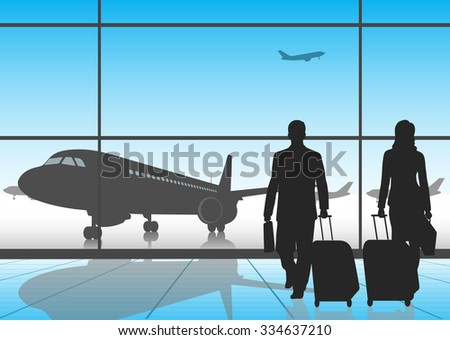 silhouette people in an airport - stock vector