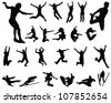 silhouette people jumping 2-vector - stock vector