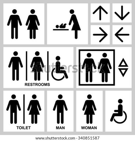Silhouette People Man & Woman public access icons set. Man & Woman restroom symbol. Vector people illustration for hotel, office, station, airport. People, man, woman, disabled.