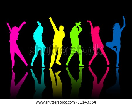 silhouette people party dance - stock vector