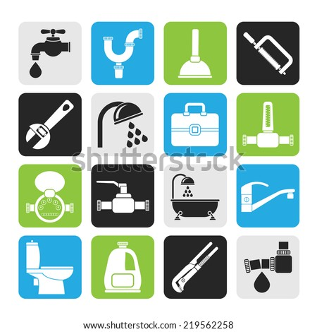 Silhouette plumbing objects and tools icons - vector icon set - stock vector