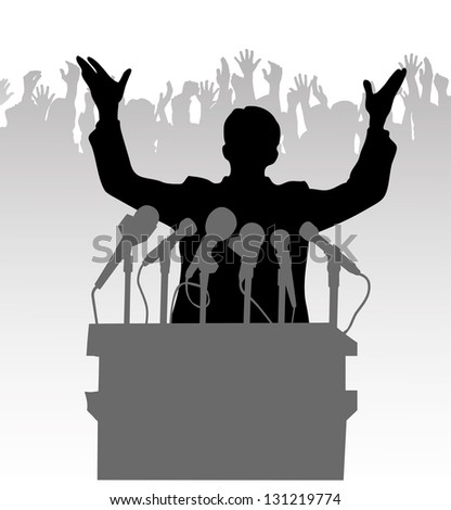Silhouette policy before the microphone - stock vector