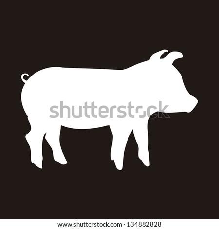 silhouette pork over black background. vector illustration - stock vector