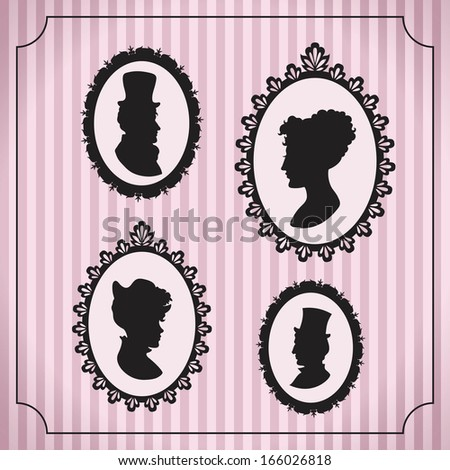 Silhouette portraits of men and women in vintage frames against striped background - stock vector