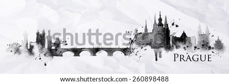 Silhouette Prague city painted with splashes of ink drops streaks landmarks drawing in black ink on crumpled paper - stock vector