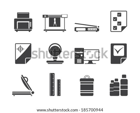 Silhouette Print industry Icons - Vector icon set 2 - stock vector