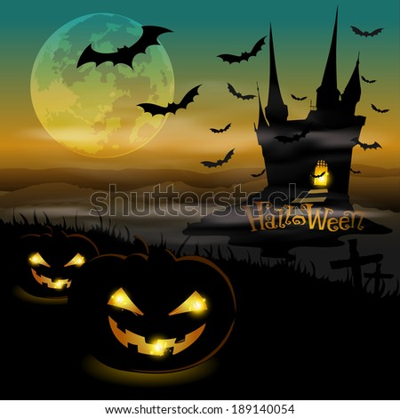Silhouette pumpkins with black castle at Halloween night - stock vector