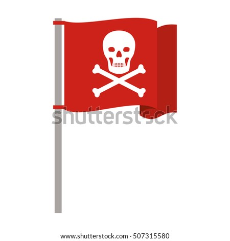 silhouette red flag pole with skull and bones