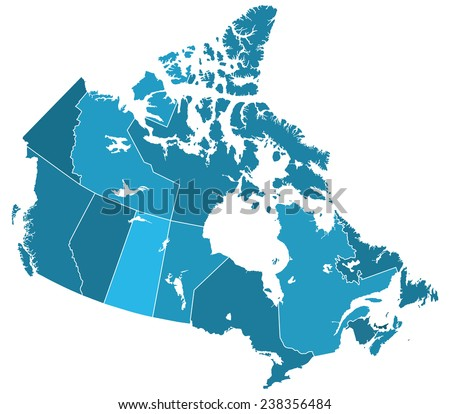 Silhouette regions map of the Canada. All objects are independent and fully editable  - stock vector
