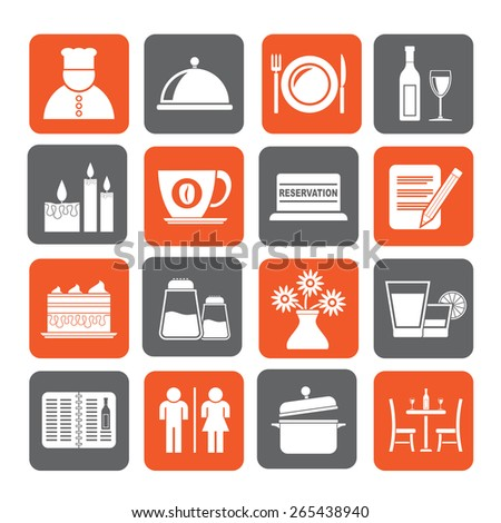 Silhouette Restaurant, cafe and bar icons- vector icon set - stock vector