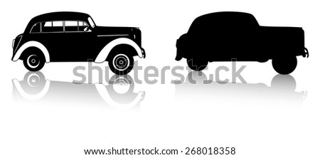 silhouette retro cars on a white background vector - stock vector