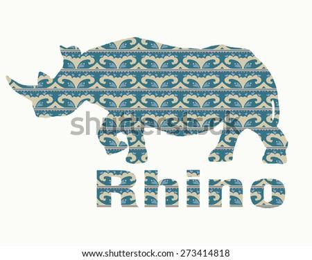 Silhouette rhino Vector Illustration - stock vector