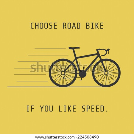 silhouette road bike, choose it if you like speed - stock vector