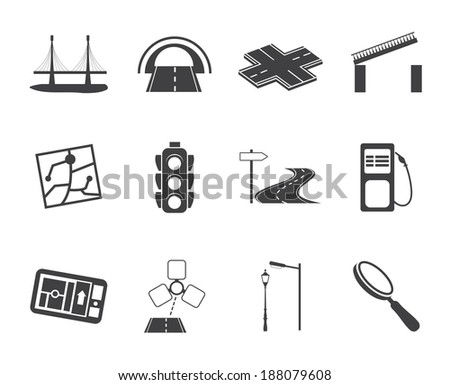 Silhouette Road, navigation and travel icons - vector icon set - stock vector