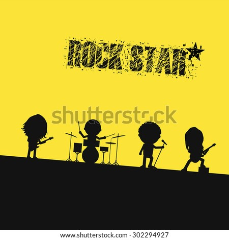 silhouette rock band on stage