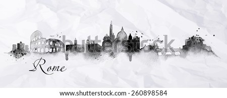 Silhouette Rome city painted in ink with spray droplets with streaks landmarks drawing in black ink on crumpled paper - stock vector