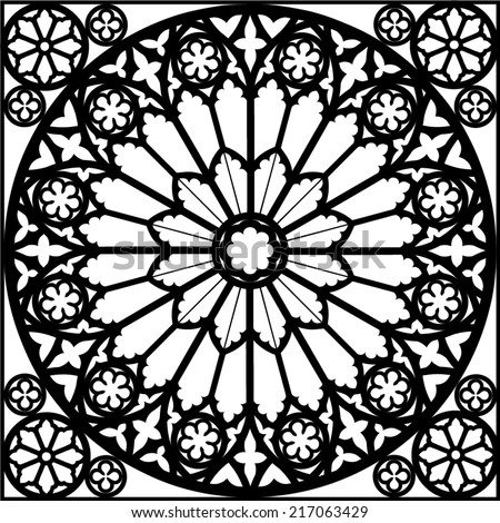 Silhouette rose window gothic vector illustration stock for Window design vector