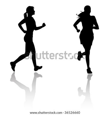 silhouette run woman - stock vector