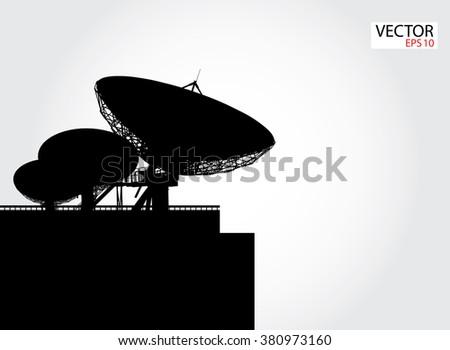 silhouette satellite dish vector - stock vector