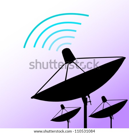 Silhouette satellite on purple background. Communication and technology. Vector illustration
