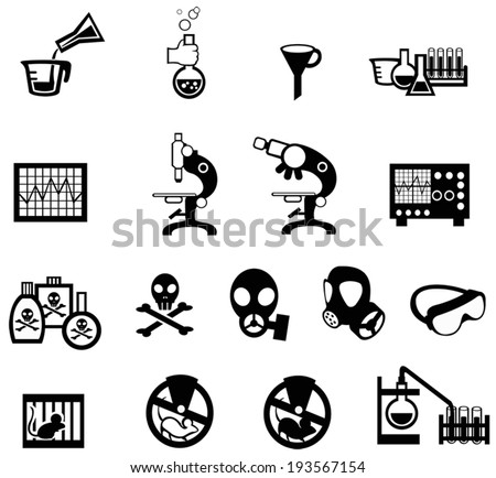 Silhouette science, chemistry, and engineering tool icon set 2, create by vector - stock vector