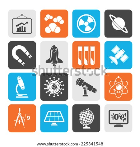 Silhouette science, research and education Icons - Vector Icon set - stock vector