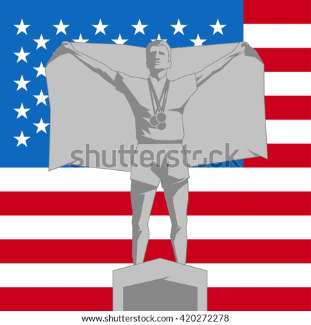 Silhouette second place on the podium with flag United States of America - stock vector