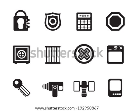 Silhouette Security and Business icons - vector icon set