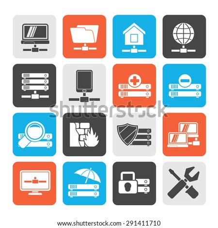 Silhouette server, hosting and internet icons - vector icon set - stock vector