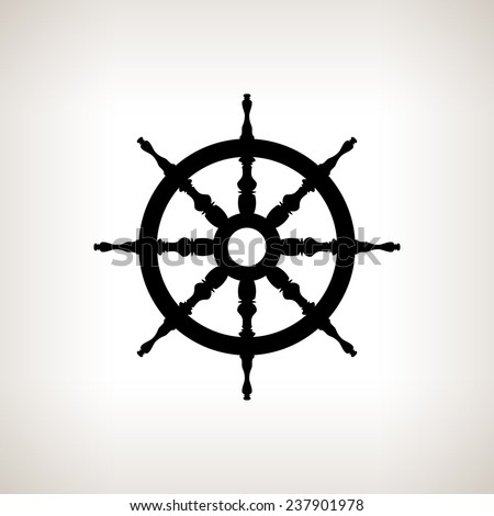 Silhouette ship wheel  on a light background,  black and white  vector illustration - stock vector