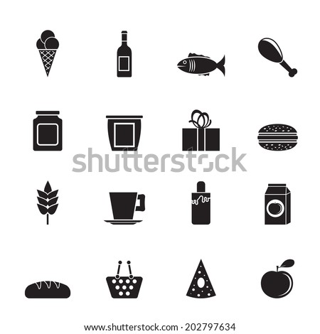 Silhouette shop, food and drink icons - vector icon set - stock vector