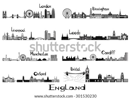 Silhouette sights of 8 cities of England - London, Liverpool, Manchester, Oxford, Birmingham, Leeds, Cardiff, Bristol