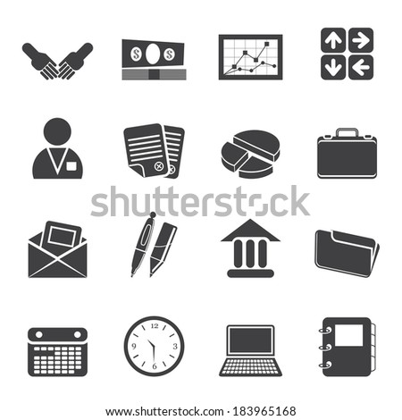 Silhouette Simple Business and office icons - Vector Icon Set - stock vector