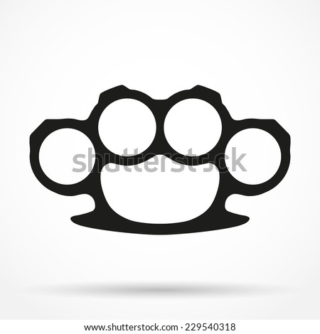 Silhouette simple symbol of knuckles. Knuckle-duster of crime. Vector illustration isolated on white background. - stock vector