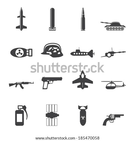 Silhouette Simple weapon, arms and war icons - Vector icon set - stock vector