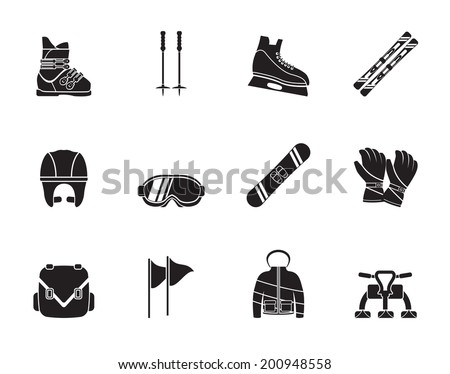 Silhouette ski and snowboard equipment icons - vector icon set - stock vector