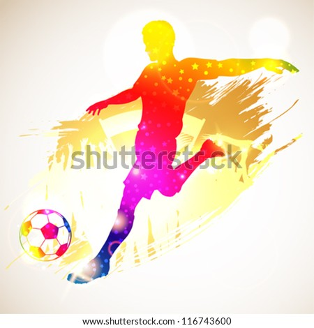 Silhouette Soccer Player and Fans on grunge background, vector illustration - stock vector