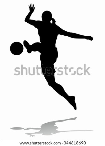 silhouette soccer woman player . player shooting.white background - stock vector
