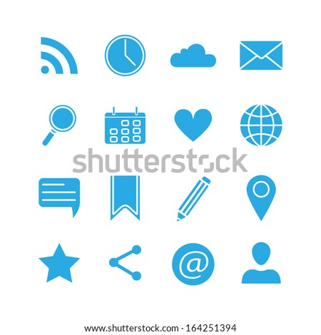 Silhouette social media icons set vector illustration - stock vector