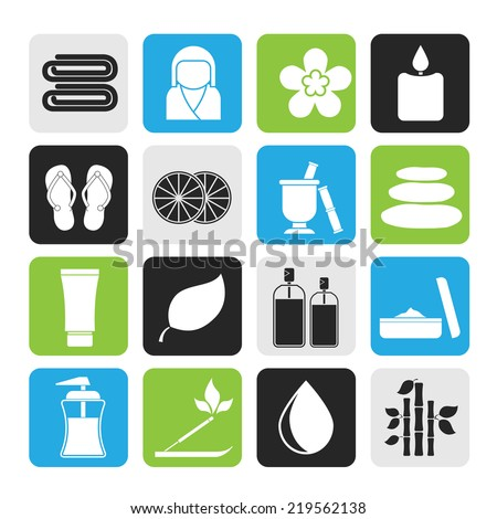 Silhouette Spa objects icons - vector icon set