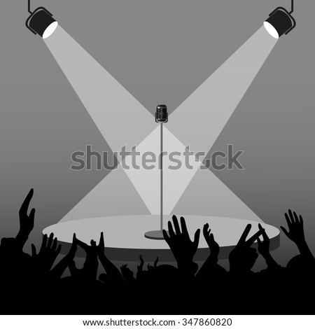 Silhouette stage with a microphone and lighting equipment before the concert the audience meets a singer - stock vector