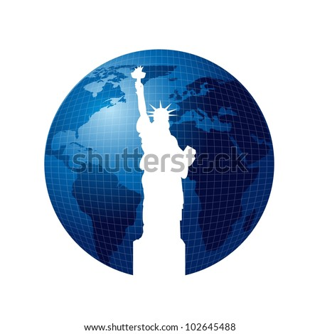 silhouette statue of liberty over planet isolated. vector illustration - stock vector